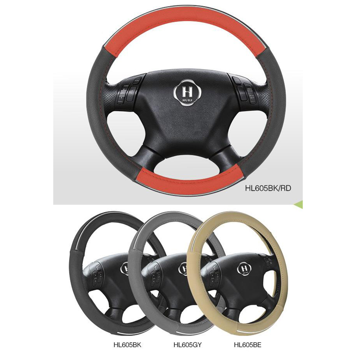 Popular PU Car Steering Wheel Cover With Black,Gray,Beige And Red